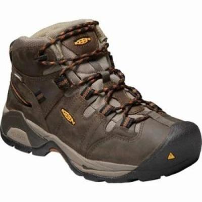 キーン ブーツ Detroit XT Mid Soft Toe Waterproof Work Boot Black Olive/Brown Leather