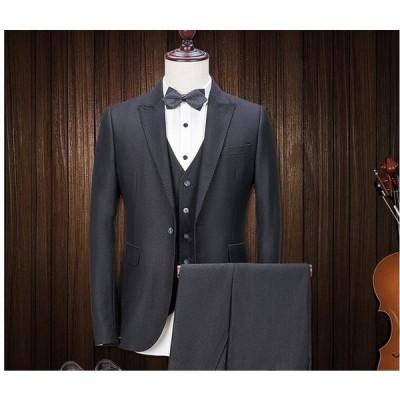 3ピーススーツ 黒 カジュアル  一つボタンスーツ ジャケット+パンツ+ベスト フォーマル 紳士用スリムメンズ リクルートスーツ 結婚式 OL 通勤 50代30代40代