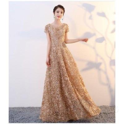 ドレス    レディース 結婚式 発表会二次会 ピアノェミニン  半袖 ロング丈     ナイトドレス プリンセス