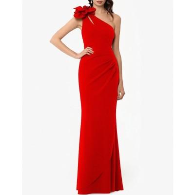 エスケープ レディース ワンピース トップス One Shoulder Rosette Cutout Detail Mermaid Gown Red