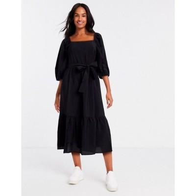 ニュールック ミディドレス レディース New Look square neck tie waist midi dress in black エイソス ASOS ブラック 黒