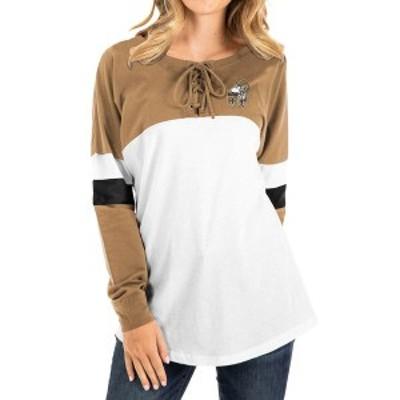 ニューエラ レディース Tシャツ トップス New Orleans Saints New Era Women's Athletic Historic Varsity Lace-Up T-Shirt Gold/White