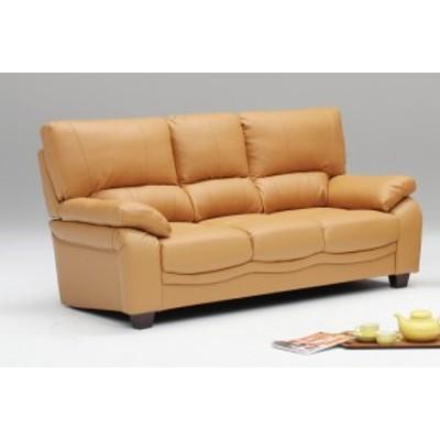 ハイバックの3pソファー キャメル色 豪華本革張り 硬めの座り心地 背もたれ脱着式
