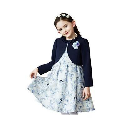 [CHOPIN(ショパン)] 入学式 女の子 スーツ シースルーフラワープリントアンサンブル 120 130cm (8101-8306)