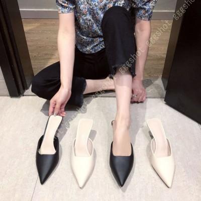 ピンヒール ミュール かわいい 春 夏 かかとなし すべらない 美脚 ミュールサンダル 低ヒール とんがりトゥ 美脚 脚長 大人 きれいめ 婦人靴 オフィスサンダル