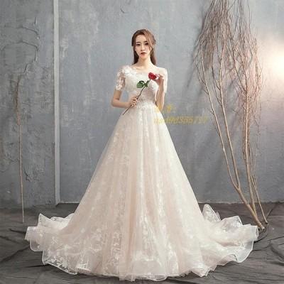 ウェディングドレス シャンパン ロングトレーン 花嫁ドレス 結婚式 披露宴 二次会 挙式 柄レース スレンダードレス お姫様 ブライダル ブライダル