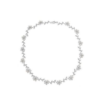 ラプレシオサ パール La Preciosa Sterling Silver FW Pearl and CZ Flower Necklace (3 mm)