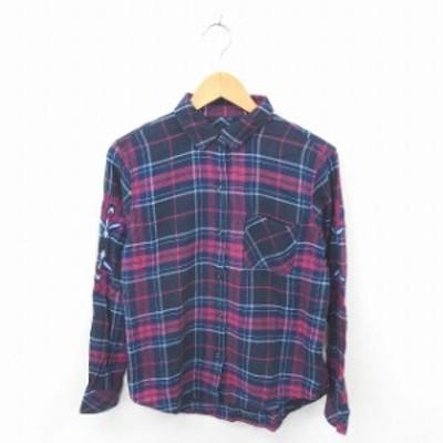 【中古】レイルズ RAILS シャツ ブラウス チェック 刺繍 綿 コットン 長袖 S 紺 紫 ネイビー パープル /TT1