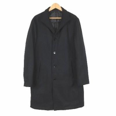 【中古】コムサイズム COMME CA ISM 中綿 コート ジャケット ウール 無地 L 黒 ブラック/1 メンズ