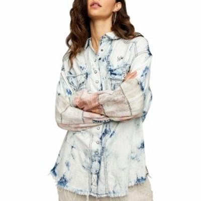 フリーピープル FREE PEOPLE レディース ブラウス・シャツ デニム トップス Acid Wash Denim Shirt Blue Combo