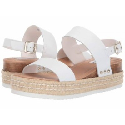 Steve Madden スティーブマデン レディース 女性用 シューズ 靴 ヒール Catia Wedge Sandal White Leather【送料無料】