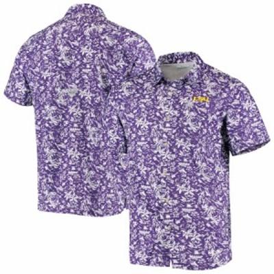 """メンズ シャツ """"LSU Tigers"""" Columbia Super Slack Tide Button-Up Shirt - Purple"""