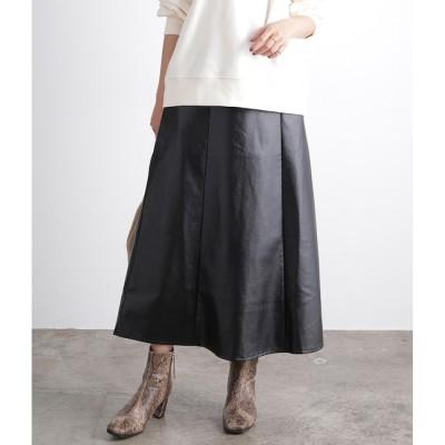【ビス/ViS】 【WEB限定】エコレザーフレアスカート