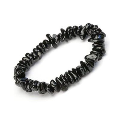 [ ハッピーボム ] ブラックトルマリン ナチュラルカット ブレスレット 天然石 パワーストーン さざれ 内周サイズ 17cm メンズ レデ