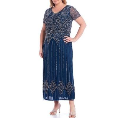 ピサッロナイツ レディース ワンピース トップス Plus Size Short Sleeve V-Neck Beaded Blouson Gown