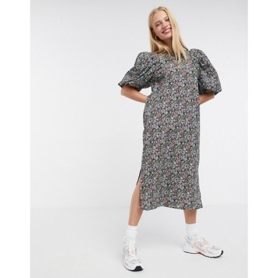 ヴェロモーダ レディース ワンピース トップス Vero Moda puff sleeve midi dress in floral print