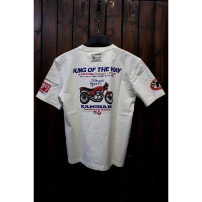エフ商会 KAMINARI カミナリ オートバイ KMT-139 CB750F RC04 パリ伝 グン仕様 コットンTシャツ オフホワイト