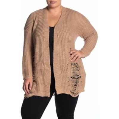 Gold ゴールド ファッション トップス Planet Gold Womens Brown Size 1X Plus Distressed Knit Cardigan Sweater