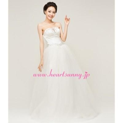 ウェディングドレス ハートネック 透明Vネック ダイヤ&ビーズ飾り 編み上げ E156