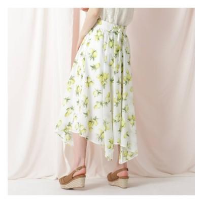 【クチュール ブローチ/Couture brooch】 【WEB限定(LL)サイズあり/洗える】フルーツプリントイレヘムスカート