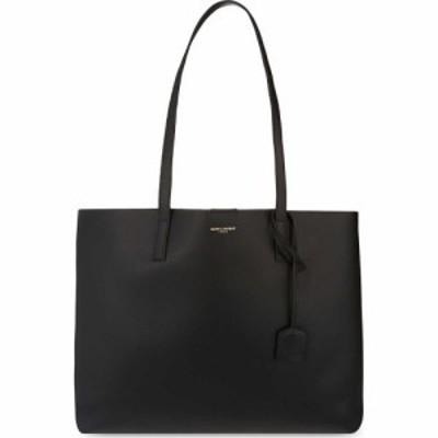 イヴ サンローラン SAINT LAURENT レディース トートバッグ バッグ Logo-print large leather tote bag BLACK