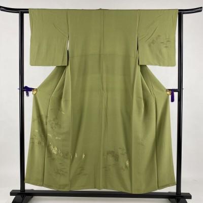付下げ 秀品 人物 松 刺繍 抹茶色 袷 身丈152cm 裄丈61cm M 正絹 中古