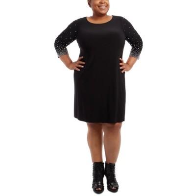 ミスク ワンピース トップス レディース Plus Size Faraj Embellished-Sleeve Sheath Dress Black
