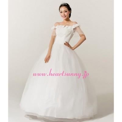 ウェディングドレス 手作り花&ビーズ飾りオフショルダー 透明 半袖/3分袖 E101