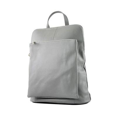 modamoda de - ital. Leather Backpack Backpack 3in1 Backpack Citybag T141, Colour:Tele gray 並行輸入品