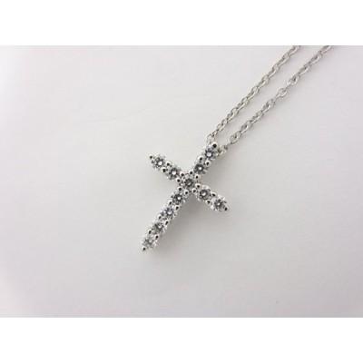 送料無料 TIFFANY&CO. ティファニー スモール クロス ネックレス 11Pダイヤモンド Pt950 プラチナ 超美品