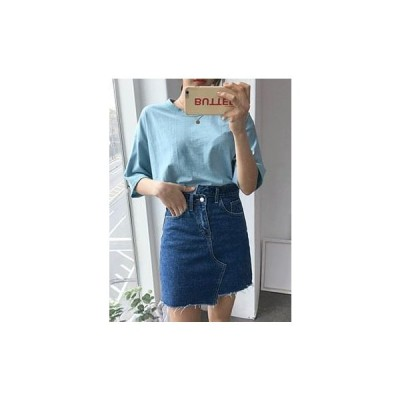 binary01 レディース スカート Uncut Cutting Tori Denim Mini Skirt 1COLOR Daily Shimmer Feminine
