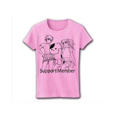 万年サポートメンバーのねこ リブクルーネックTシャツ(ライトピンク)