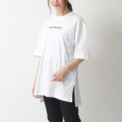 CALVIN KLEIN JEANS カルバンクライン ジーンズ J20J212880 オーバーサイズ Tシャツ クルーネック ビッグシルエット ロゴ YAF/Bright-White レディース