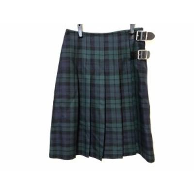 オニール O'NEIL ロングスカート サイズ40( I ) レディース - ネイビー×ダークグリーン×マルチ チェック柄【中古】20200810