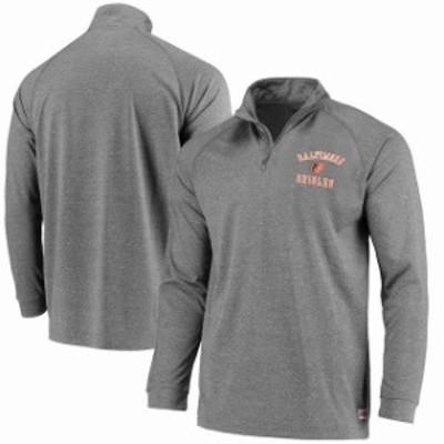 Stitches スティッチ スポーツ用品  Stitches Baltimore Orioles Charcoal Team Logo Quarter-Zip Pullover Jacket