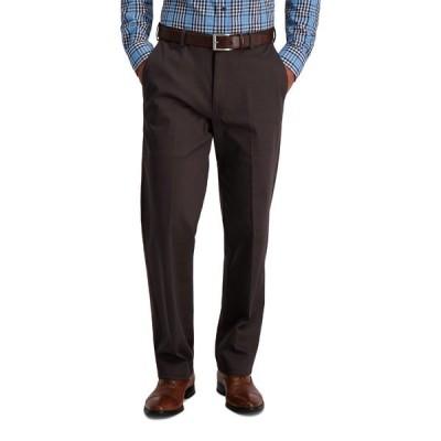 ハガール カジュアルパンツ ボトムス メンズ Men's Iron Free Premium Khaki Classic Fit Flat Front Hidden Comfort Waistband Casual Pants -