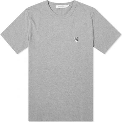 メゾン キツネ Maison Kitsune メンズ Tシャツ トップス Grey Fox Head Patch Classic Tee Grey Melange