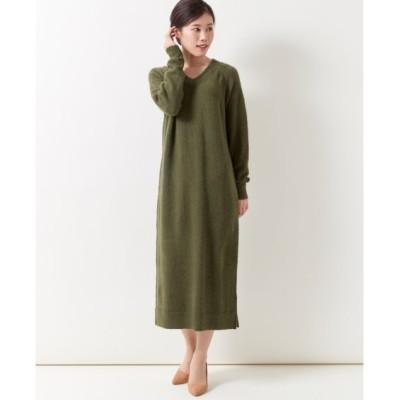 【大きいサイズ】 Vネックニットロング丈ワンピース ワンピース, plus size dress