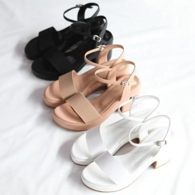 サンダル レディース バックストラップ  厚底 太ヒール  黒 ブラック ホワイト ベージュ 婦人靴 痛くない 歩きやすい