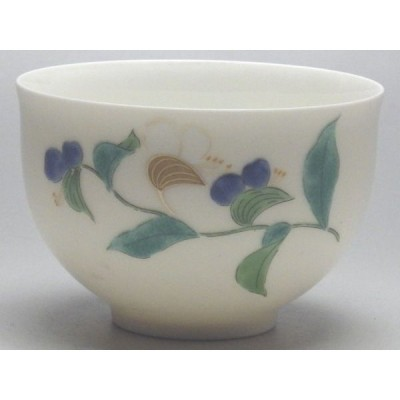 【B級品】ツユクサ(大/小:縦):白 カラー千茶 [普段使いの食器]
