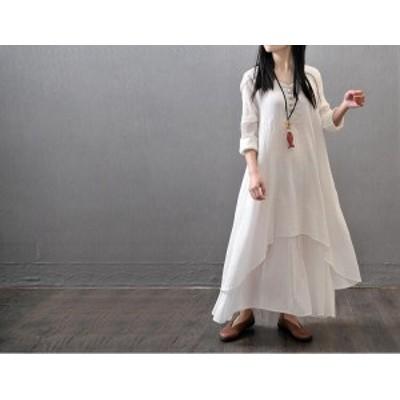 新品 ワンピース ロング丈 シャツワンピース マキシ 麻 体型カバー 夏 大きいサイズあり オシャレ カワイイ 長袖 韓国スタイル