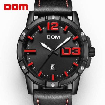Dom 腕時計 メンズ 高級 スポーツ クォーツ 腕時計 時計 メンズ 革 ビジネス 防水 時計レロジオ masculino M-1218B