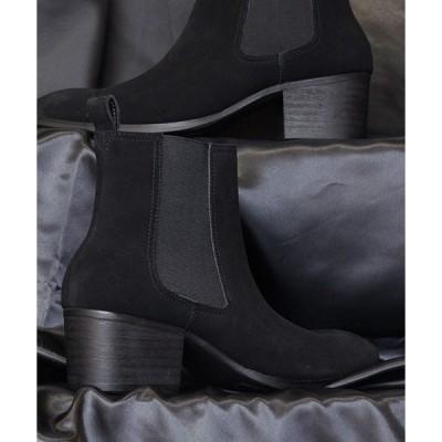 ブーツ サイドゴアハイヒールレザーブーツ