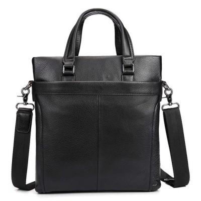 ビジネスバッグ 本革 縱型 メンズ トートバッグ ブラック 2way ショルダーバッグ 男女兼用 A4対応 手提げバッグ 軽