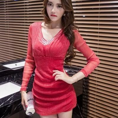 キャバ ドレス キャバドレス ワンピース ミニドレス メッシュ ラインストーン ラメ 鮮やか 繊細 胸元 シアー レッド M