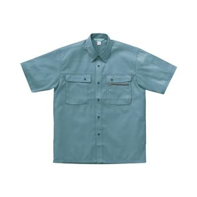 クロダルマ 半袖シャツ ソフトバーバリー Lサイズ グリーン 26371−85 1着 (メーカー直送・代引不可)