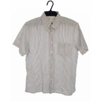 【中古】ポールスミス PAUL SMITH トップス シャツ ボタンダウン ストライプ コットン 半袖 ホワイト ネイビー 白 紺