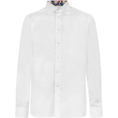 イートン Eton メンズ シャツ トップス Tennis Print Detail Long Sleeve Shirt White