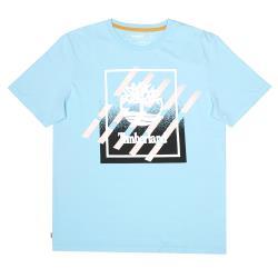 Timberland 男款托帕石藍夏季LOGO印花短袖T恤A2DVNBF2
