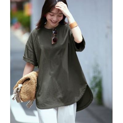 (ViS/ビス)【vis-`a-vis】【USAコットン】裾ラウンドビッグTシャツ/レディース オリーブ(37)